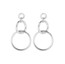 SWINGING CIRCLES EARRINGS - silver (pair)
