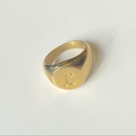 SIGNET INITIAL RING L - gold