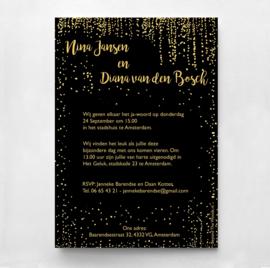 Trouwkaart Goud & Zwart