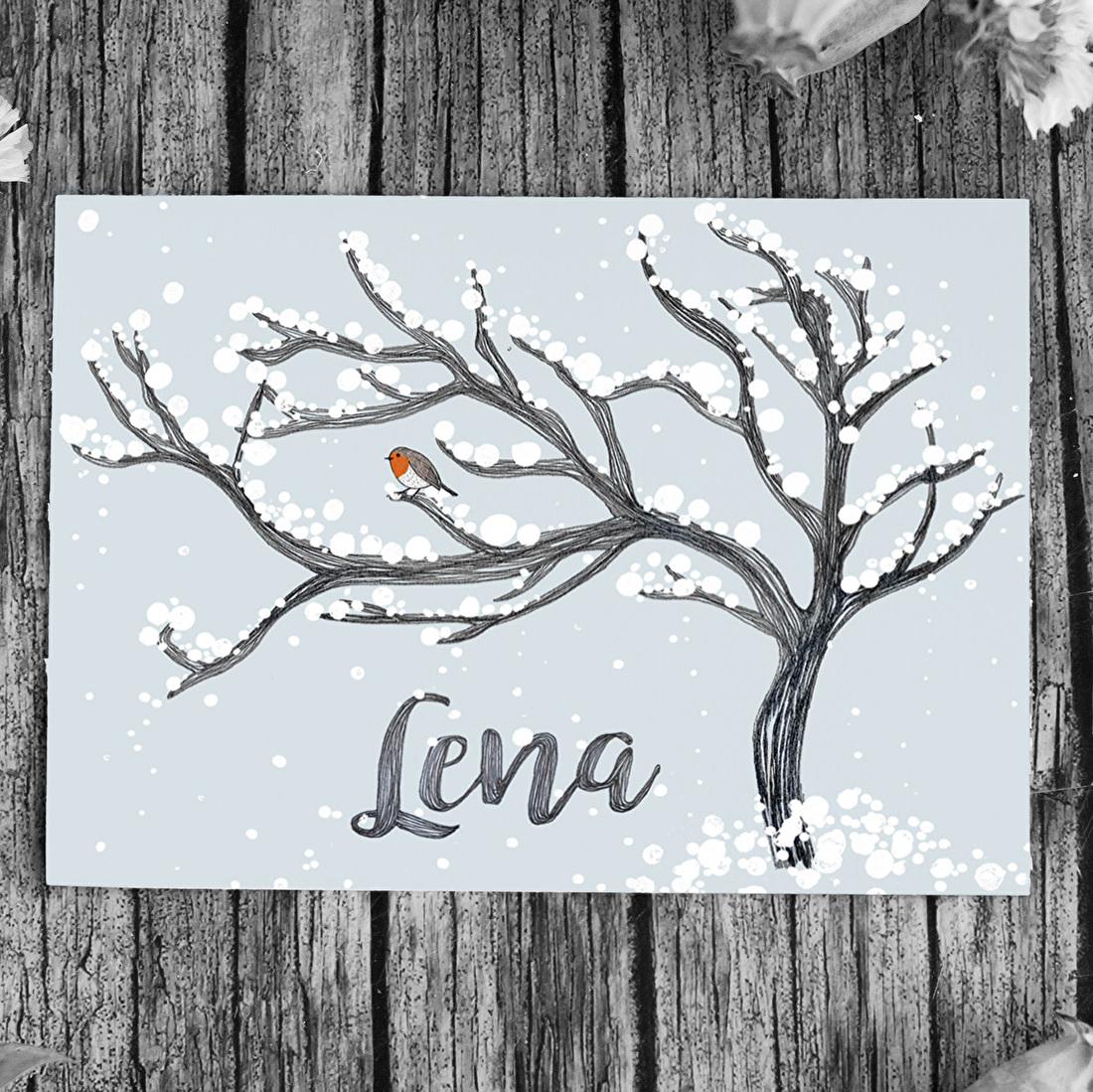 Geboortekaartje boom roodborstje