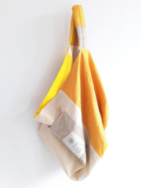 Reversible linen bag yellow