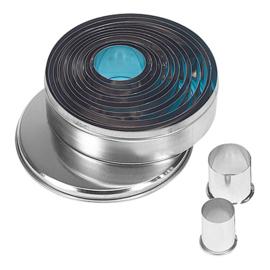 Stekerdoos - 14-delig: blik, rond, glad (2-11 mm)