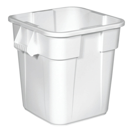 Afvalcontainer Rubbermaid wit, deskel wit en dolly