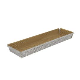 Geperforeerde bakvorm rvs met bakpapier - 35 x 10.5 x 3.5 cm - De Buyer