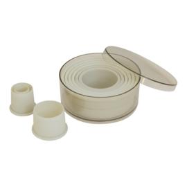 Stekerdoos - 9-delig: kunststof, rond, glad (2-10 mm)