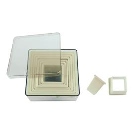 Stekerdoos - 9-delig: kunststof, vierkant, glad (3-10 mm)