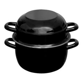 Mosselpan - zwart geëmailleerd met rvs rand