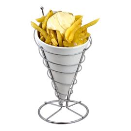 Patat-friteszak / schaal met verchroomde standaard (ook los verkrijgbaar)