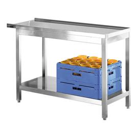 Aan- of afvoertafel - rvs met onderbouw voor korven