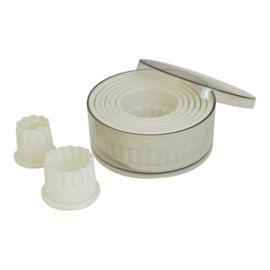 Stekerdoos - 9-delig: kunststof, rond, gekarteld (2-10 mm)