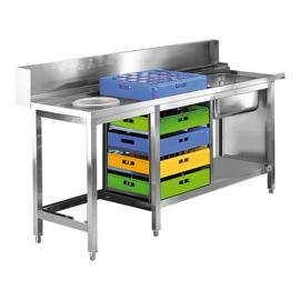 Spoeltafel - rvs met achteropstand en onderplank en plaatsing afvalcontainer - Modular