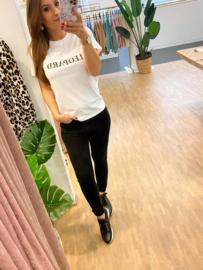 T-shirt leopard - wit C102