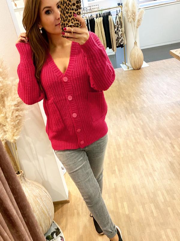 Gilet Caithlyn rood/roze - C248