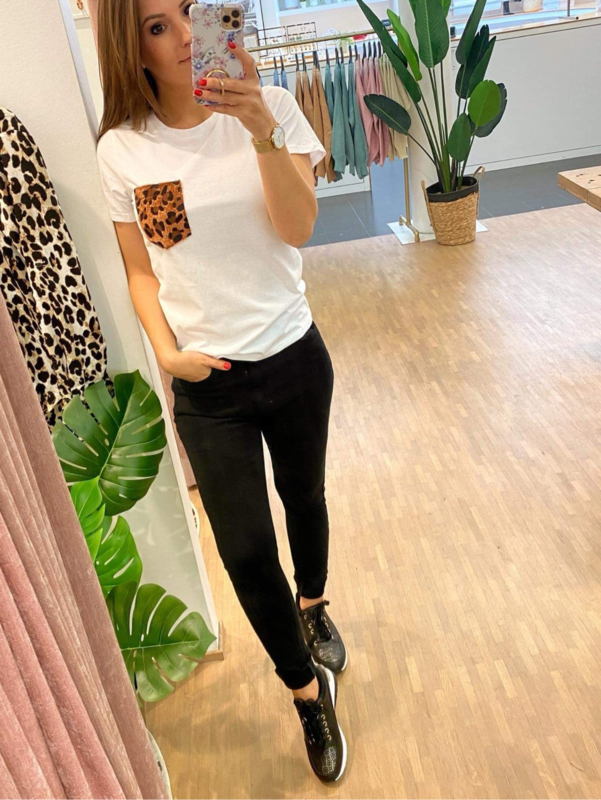 T-shirt pocket leopard - bruin C104