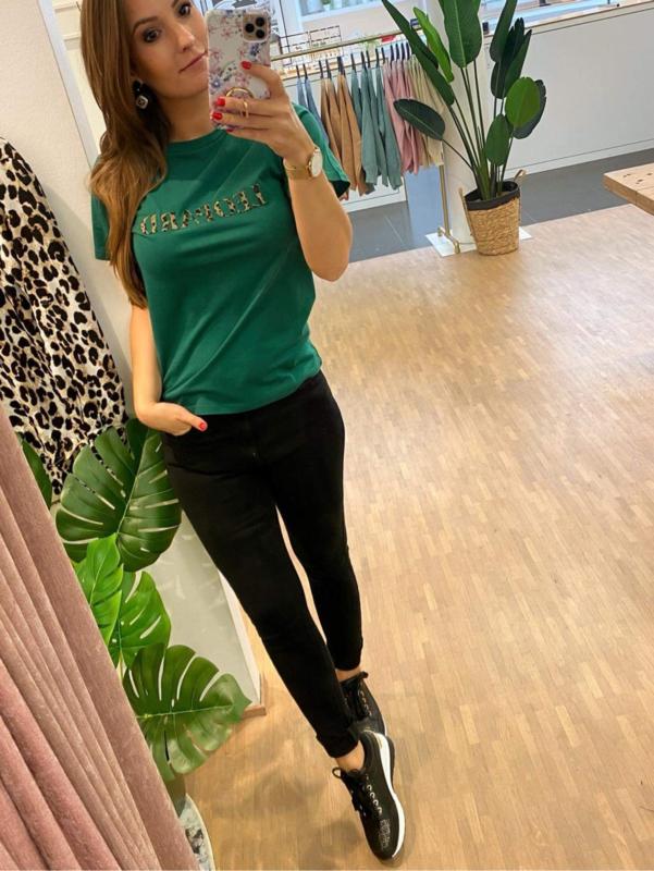 T-shirt leopard - groen C102