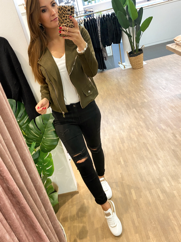 Suède jasje Hannah - khaki nieuw kleur H198