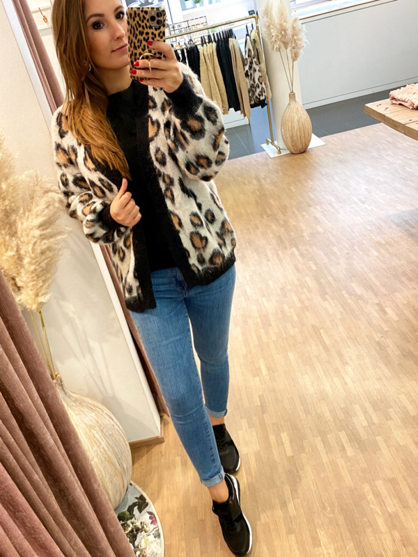 Gilet leopard  kort - C251
