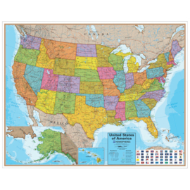Grote kaart van america met vlaggen H96,5cmxB121cm