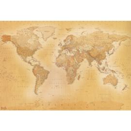 Grote mooie Wereldkaart in vintage kleur B. 2,32m x H 1,58