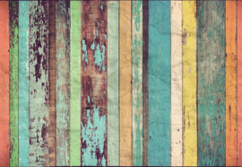 Fotobehang - Colored Wooden Wall - B 366 x H 254 cm - Multi