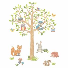Mooie muursticker Woodland tree boom met dieren, ideaal voor kinderkamer 87delig, vinyl, peel stick + move