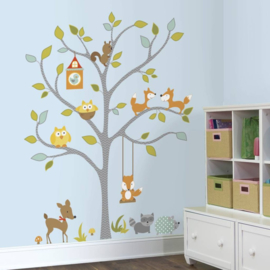 RoomMates vinyl Muursticker Woodland Fox & Friends Tree