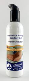 Ultrades desinfecterende handgel 70% alcohol, inhoud 250ml, doodt 99,99% van de bacteriën, virussen en schimmels