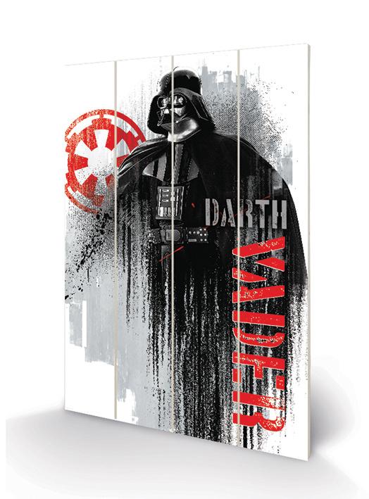 Star Wars - Rogue One Darth Vader Grunge Wood / HoutPrint B40cm x H59cm