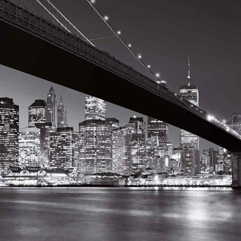 New York Brooklyn Bridge - Fotobehang - B366 x H253 cm - Zwart/wit