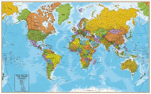 Grote interactieve wereldkaart B 1,30m x H 0,81m,lamineerd, leuk en leerrijk