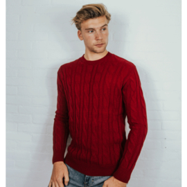 Cable Knit Sweater | Red