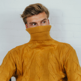 Braided Turtleneck Sweater | Yellow