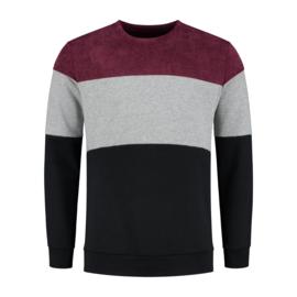 Color Block Sweat   Bordeaux Rood/Grijs/Zwart