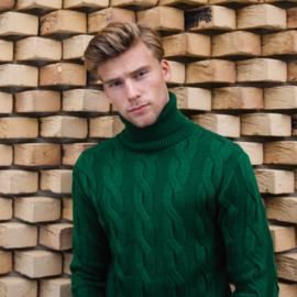Braided Turtleneck Sweater   Green