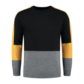 Color Block Knit | Zwart/Mosterdgeel/Grijs