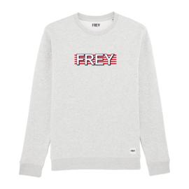 Striped Logo Sweat | Cream Heather Grey