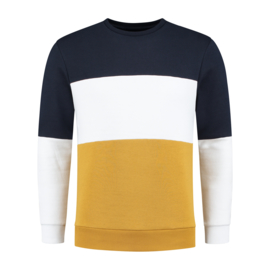 Color Block Sweat | Donker Blauw/Wit/Mosterdgeel