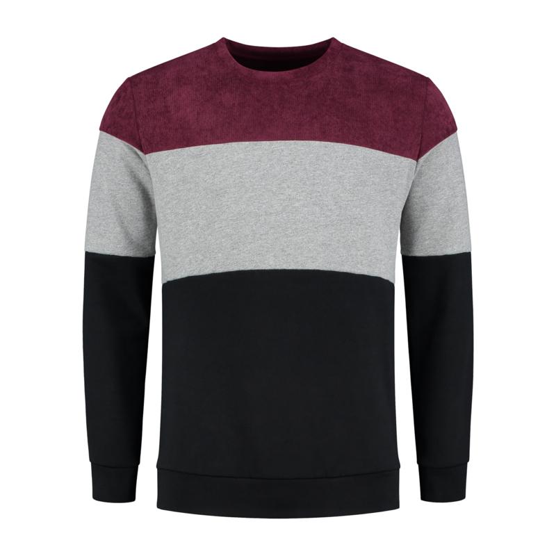 Color Block Sweat | Bordeaux Rood/Grijs/Zwart
