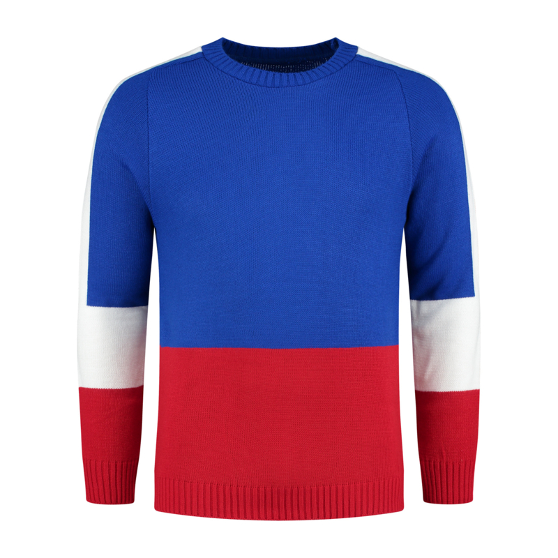 Color Block Knit | Kobalt Blauw/Wit/Rood