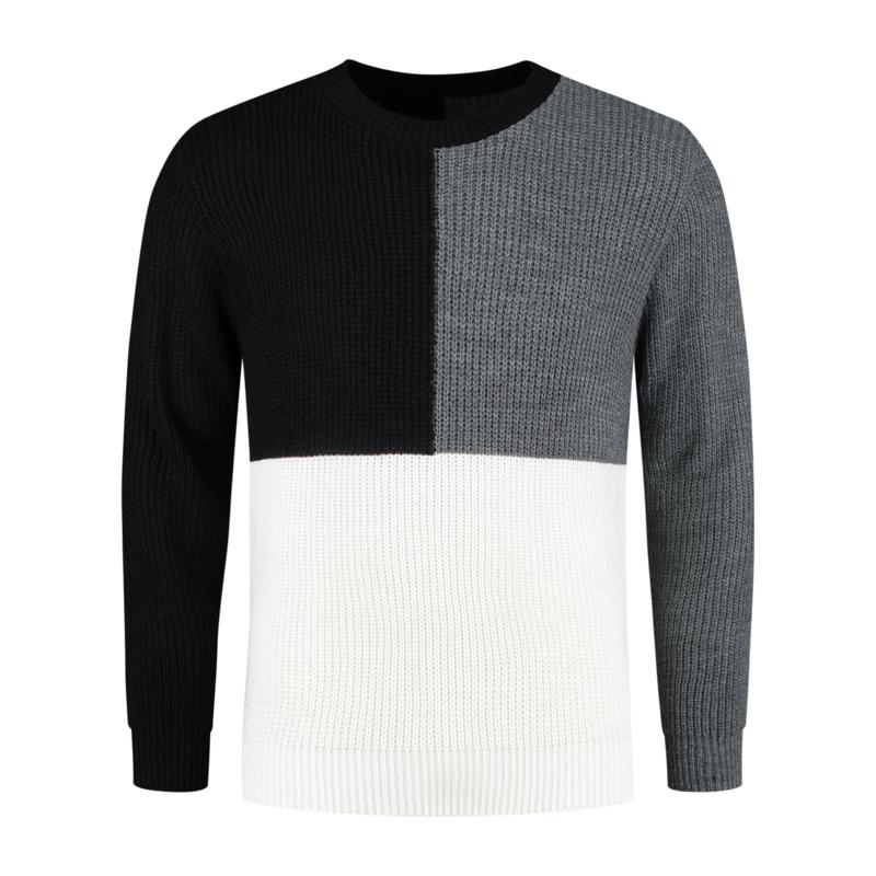 Color Block Heavy Knit | Zwart/Grijs/Wit