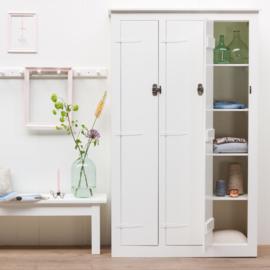 Houten lockerkast 3-deurs groot - Wit