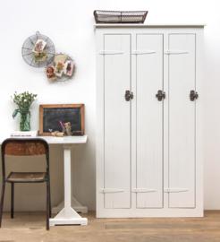 Houten lockerkast 3-deurs middel - Wit