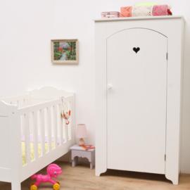 Kinderkledingkast met hartje - Wit