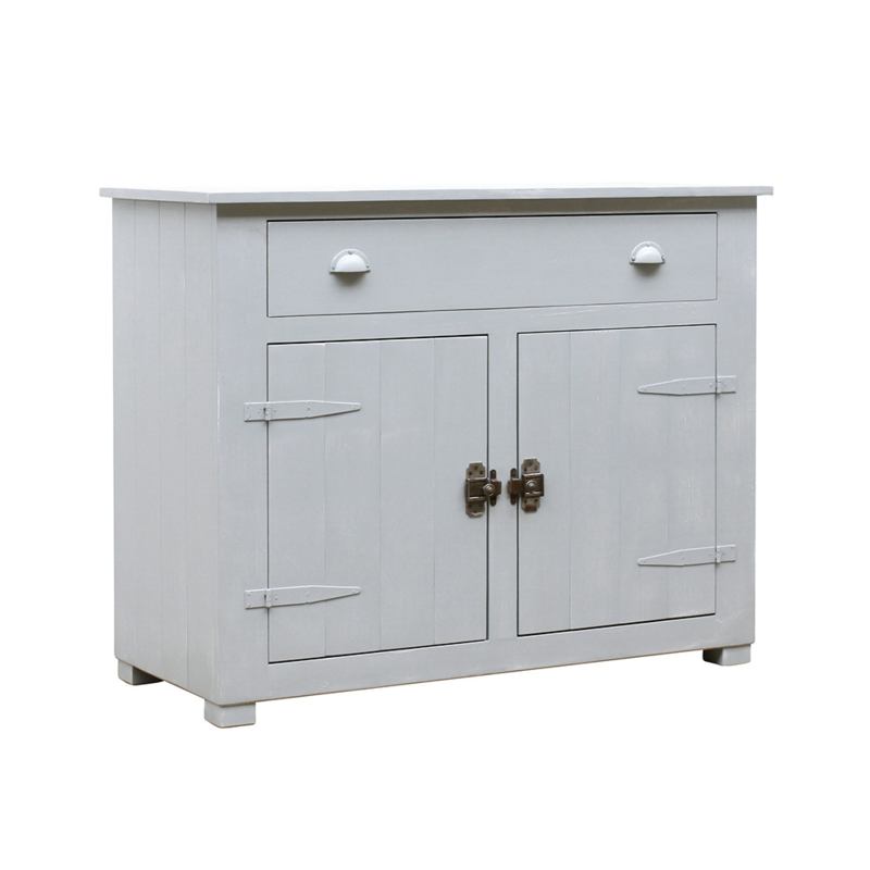 Houten locker commode - Grijs doorgeschuurd