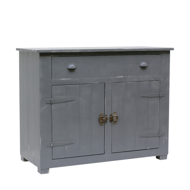 Houten locker commode - Antraciet doorgeschuurd