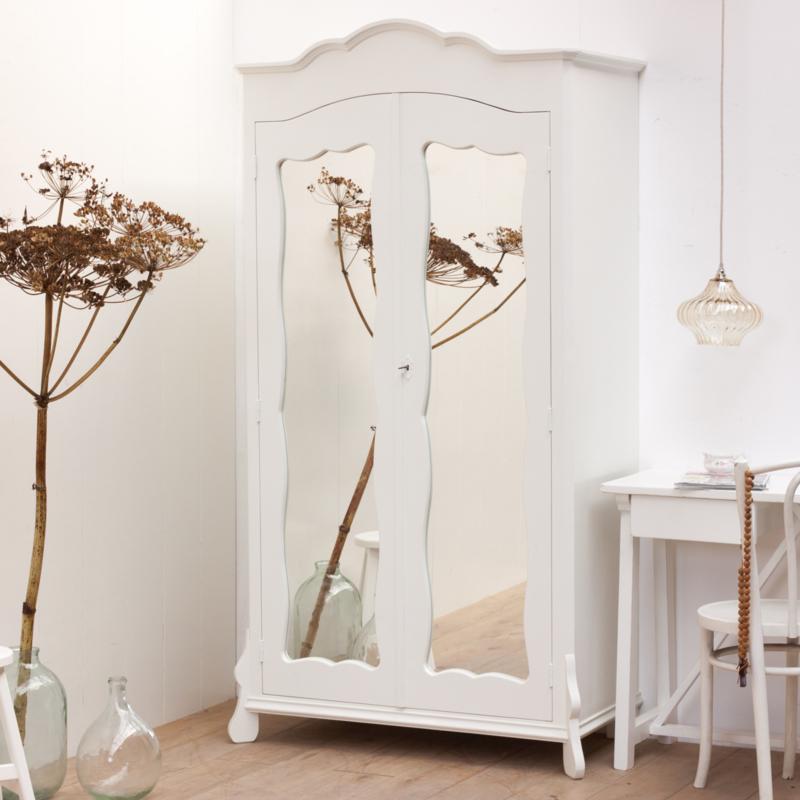 Goede Brocante kast met spiegel - Houten kledingkast - Wit QO-94