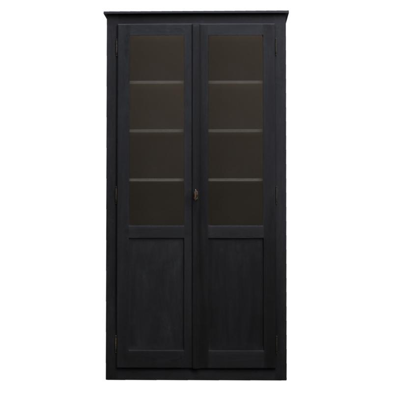 Lange vitrinekast zwart  (250cm)