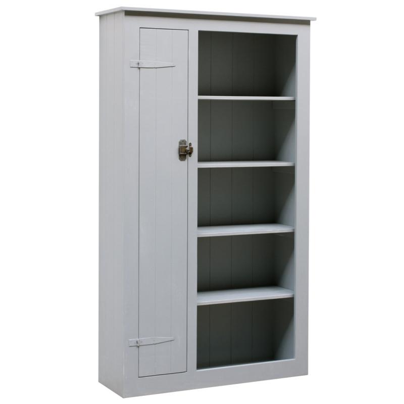 Houten locker boekenkast – Grijs doorgeschuurd