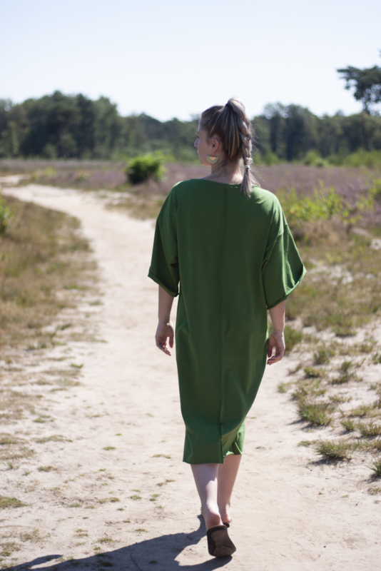 Long T-dress Tally green