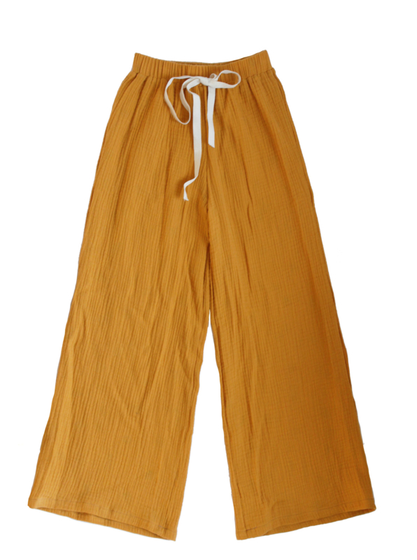 "Long wide pants ""Lonne"" yellow ochre 134/140"